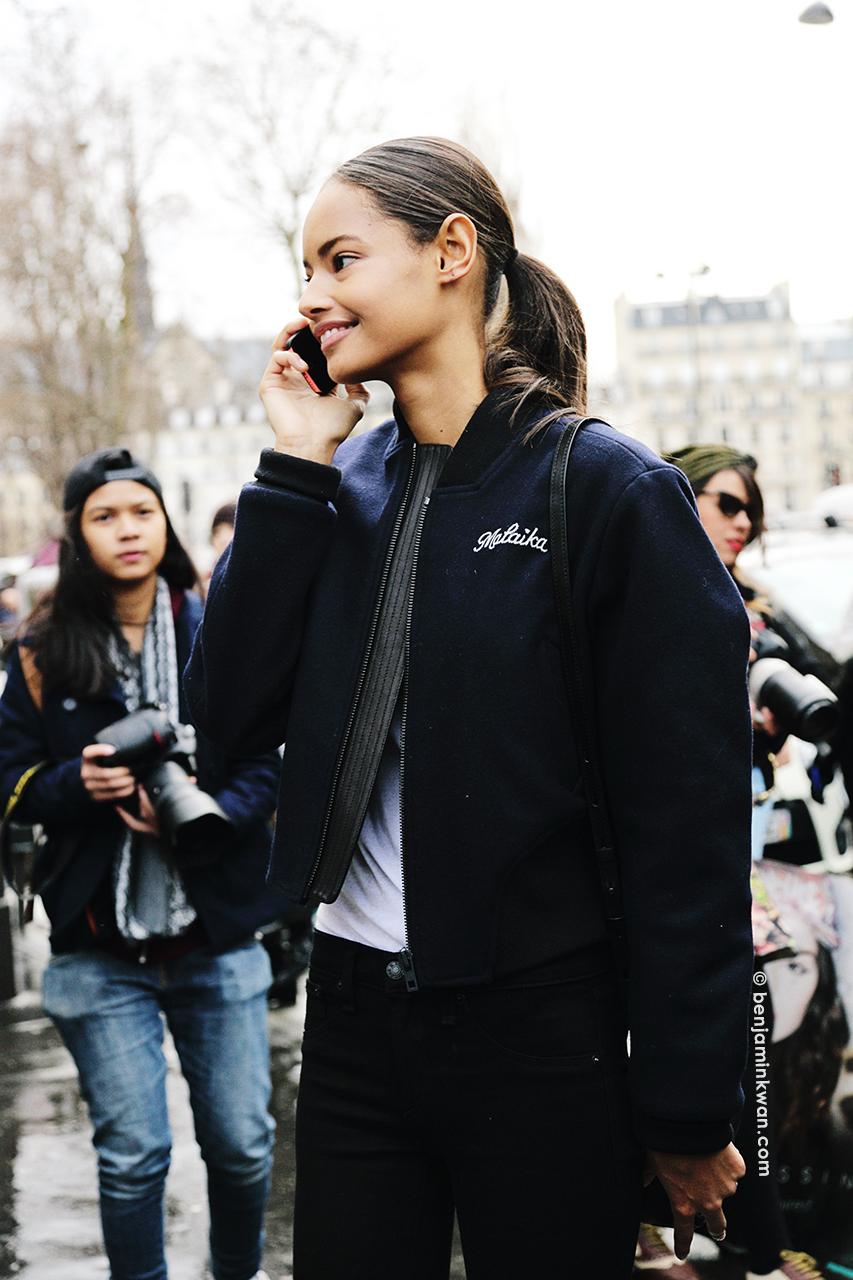 Malaika Firth at Balmain FW 2014 Paris Snapped by Benjamin Kwan Paris Fashion Week