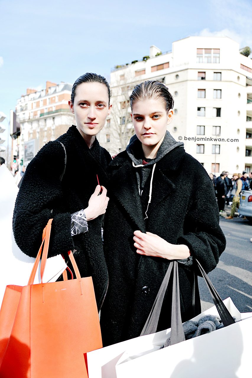 Helena Severin and Kia Low at Celine FW 2014 Paris Snapped by Benjamin Kwan Paris Fashion Week