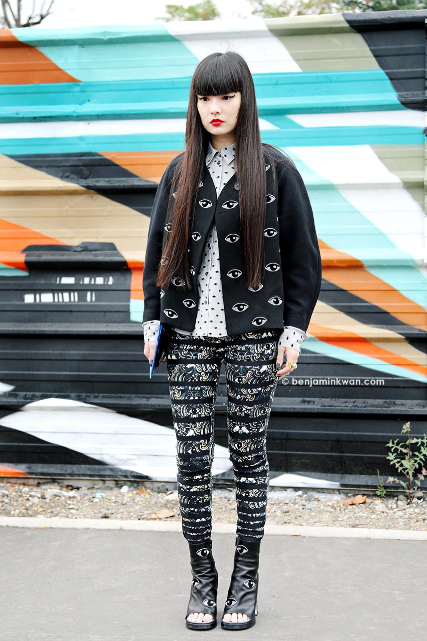 Kozue Akimoto at Kenzo SS 2014 Paris Snapped by Benjamin Kwan Paris Fashion Week