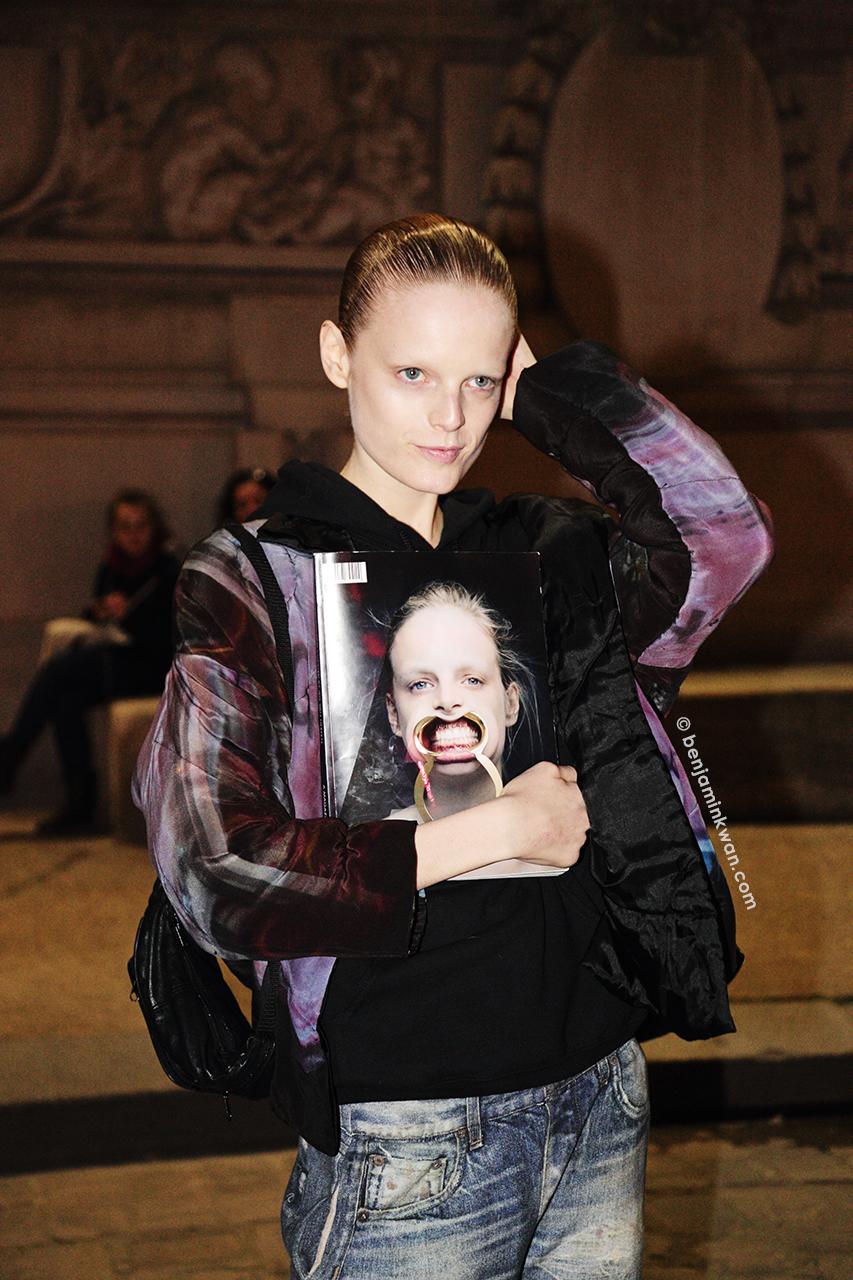 Hanne Gaby Odiele at Akris FW 2014 Paris Snapped by Benjamin Kwan Paris Fashion Week