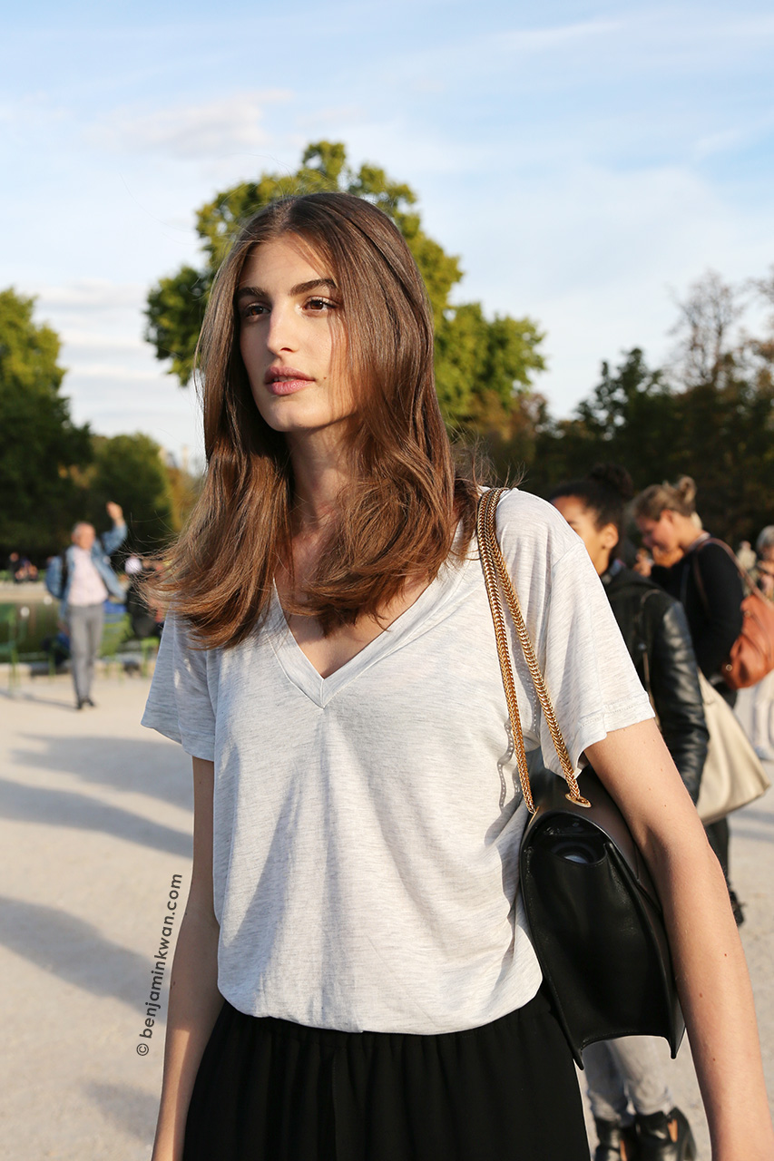 Elodia Prieto at Nina Ricci SS 2015 Paris Snapped by Benjamin Kwan Paris Fashion Week