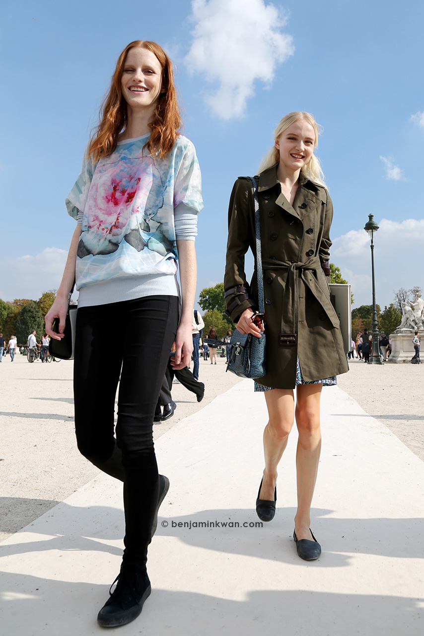 Magdalena Jasek and Maja Salamon at Valentino SS 2015 Paris Snapped by Benjamin Kwan     Paris Fashion Week