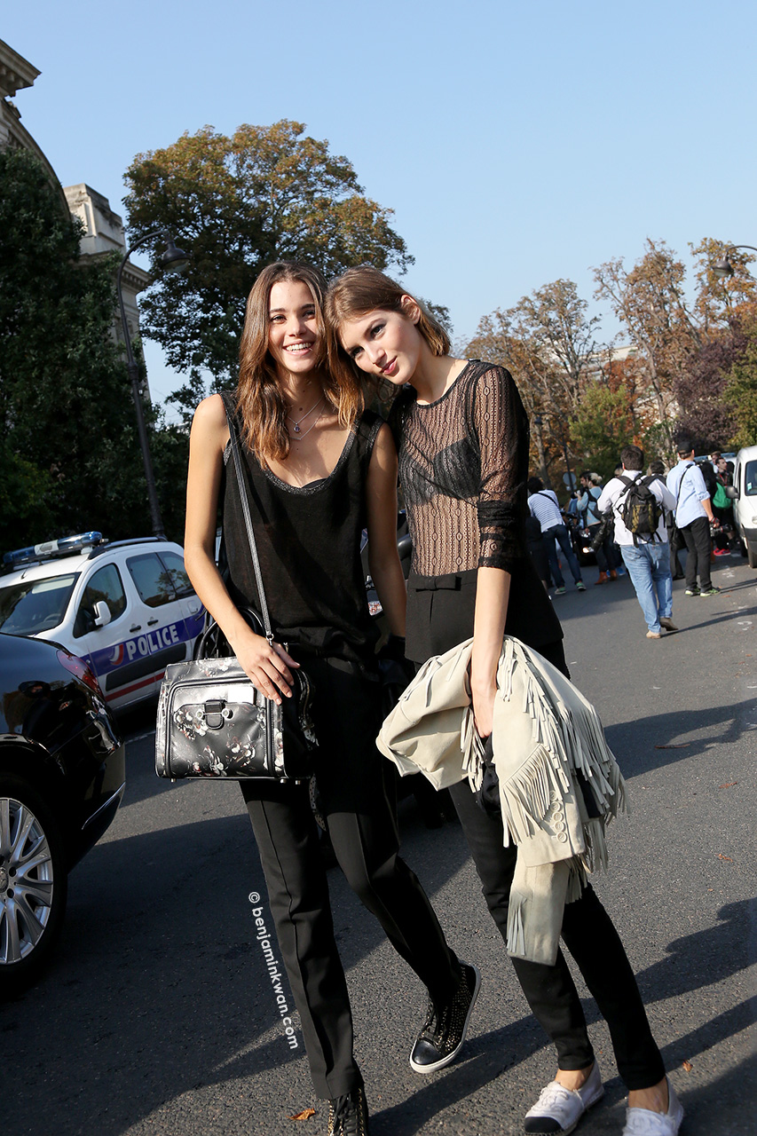 Pauline Hoarau and Valery Kaufman at Chanel SS 2015 Paris Snapped by Benjamin Kwan Paris Fashion Week
