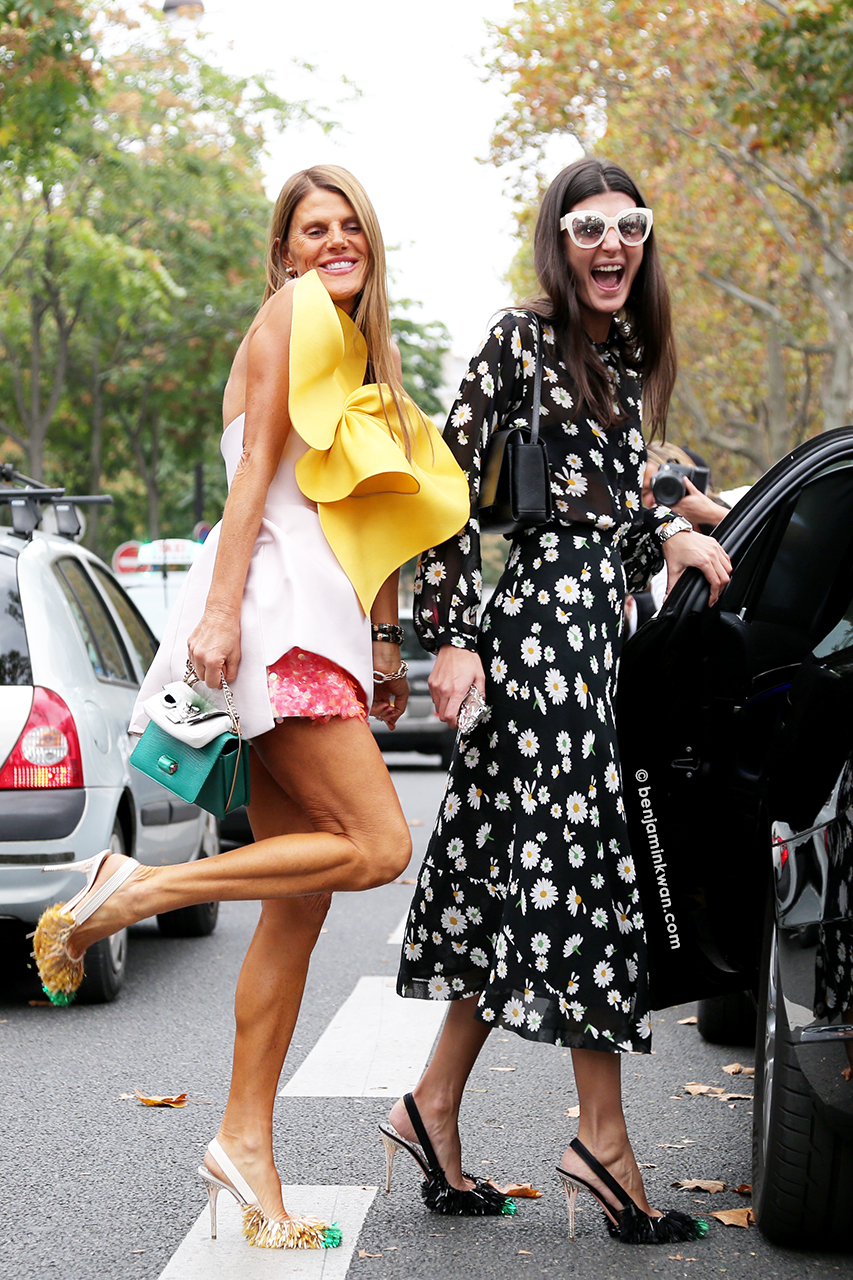 Anna Dello Russo and Giovanna Battaglia at Rochas SS 2015 Paris Snapped by Benjamin Kwan     Paris Fashion Week