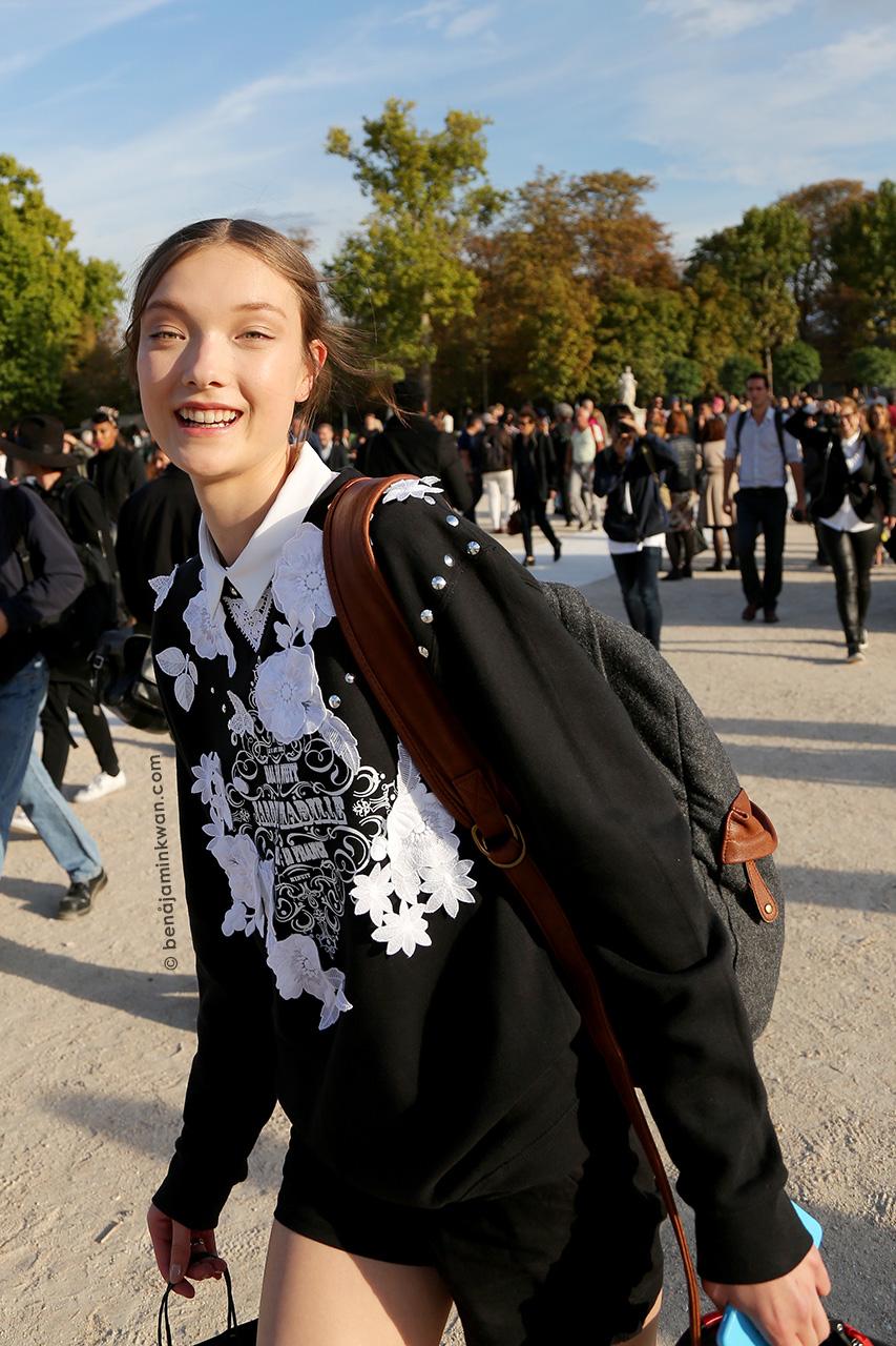 Yumi Lambert at Nina Ricci SS 2015 Paris Snapped by Benjamin Kwan     Paris Fashion Week