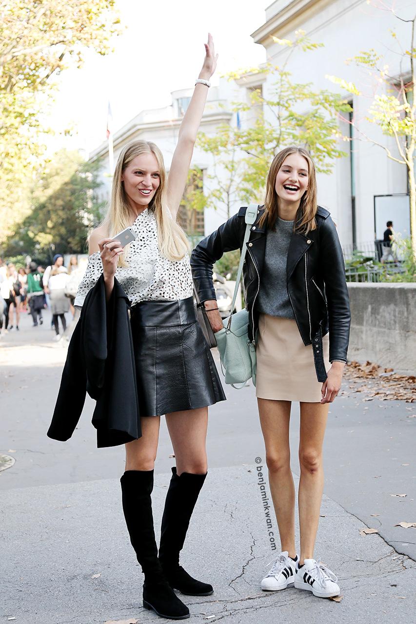 Vanessa Axente and Sanne Vloet at Isabel Marant SS 2015 Paris Snapped by Benjamin Kwan Paris Fashion Week