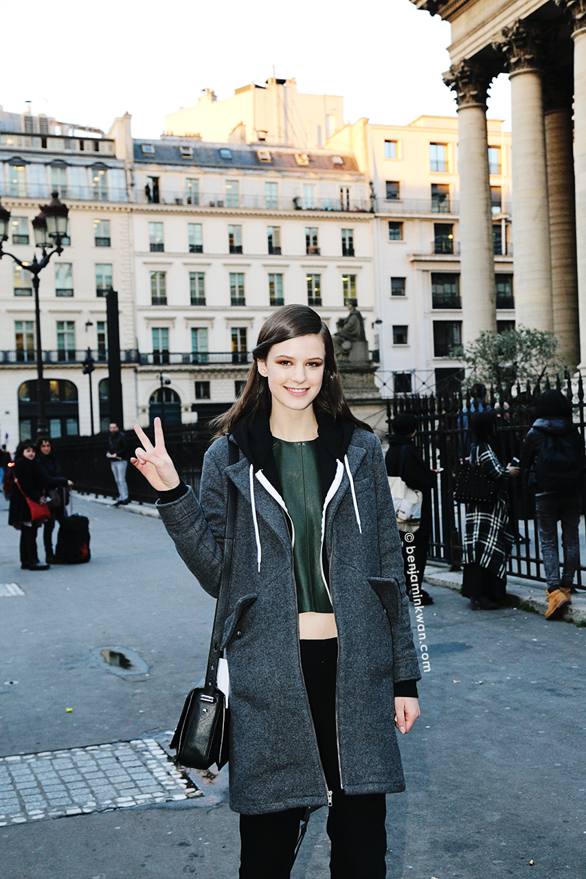 Kayley Chabot at Hermes FW 2014 Paris Snapped by Benjamin Kwan Paris Fashion Week