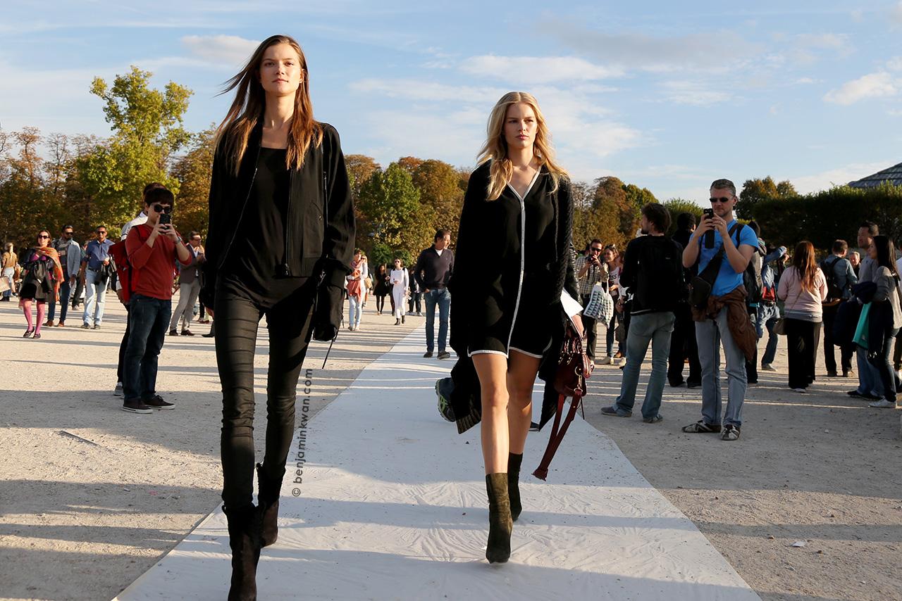 Kasia Struss and Anna Ewers at Nina Ricci SS 2015 Paris Snapped by Benjamin Kwan Paris Fashion Week