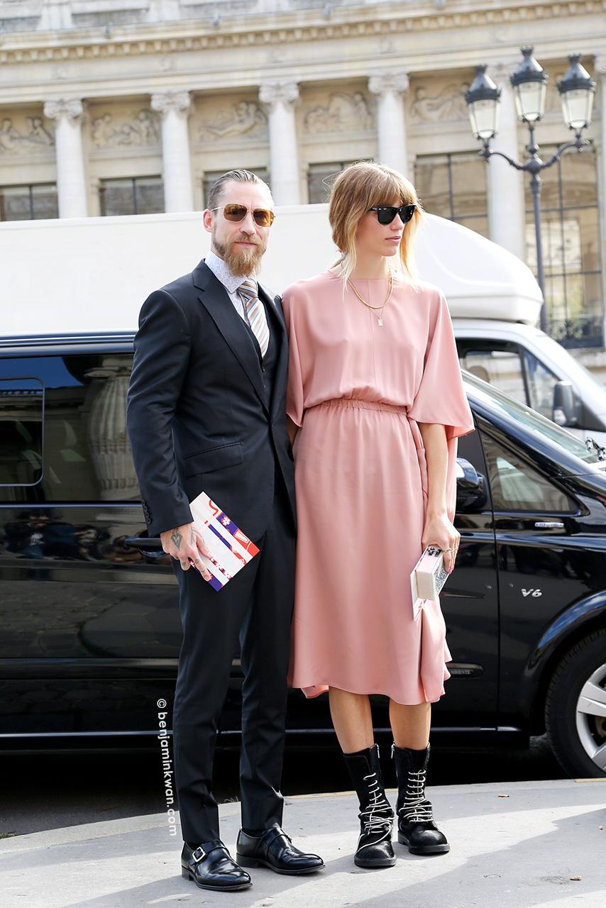 Justin O'Shea and Veronika Heilbrunner at Carven SS 2015 Paris Snapped by Benjamin Kwan Paris Fashion Week