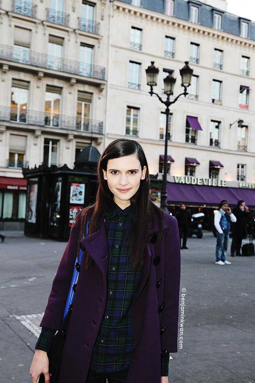 Iana Godnia at Hermes FW 2014 Paris Snapped by Benjamin Kwan     Paris Fashion Week