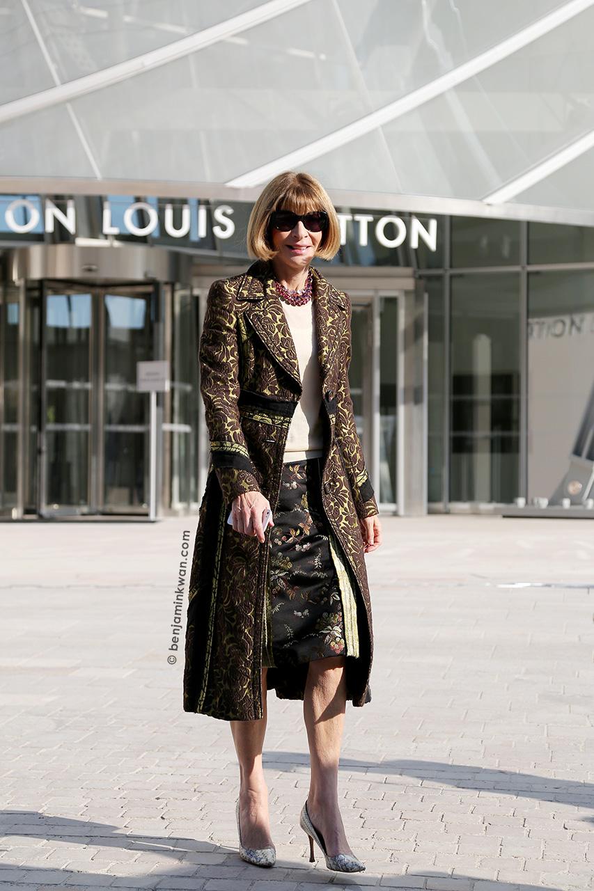 Anna Wintour at Louis Vuitton SS 2015 Paris Snapped by Benjamin Kwan     Paris Fashion Week