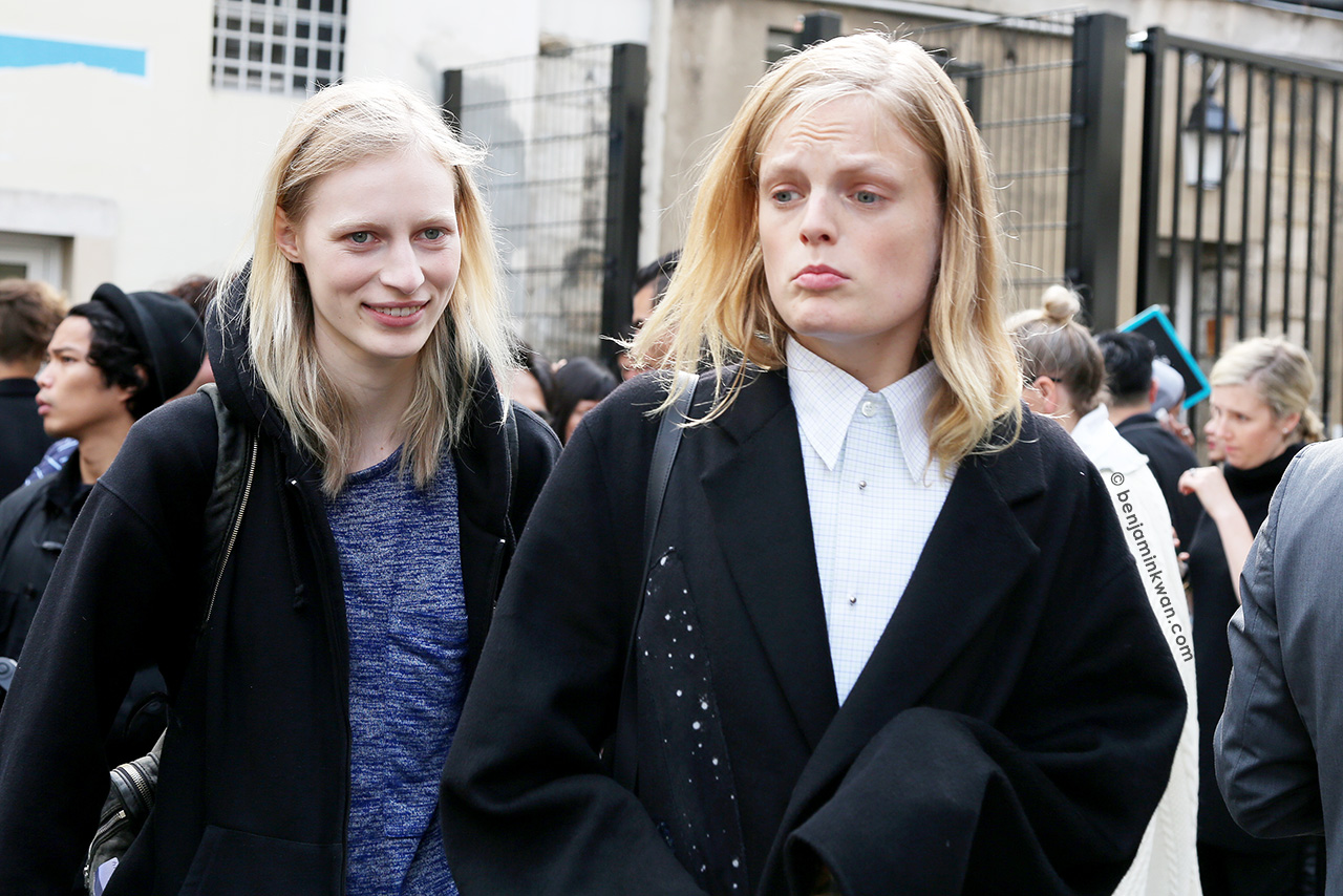 Julia Nobis and Hanne Gaby Odiele at Sacai SS 2015 Paris Snapped by Benjamin Kwan Paris Fashion Week 2015