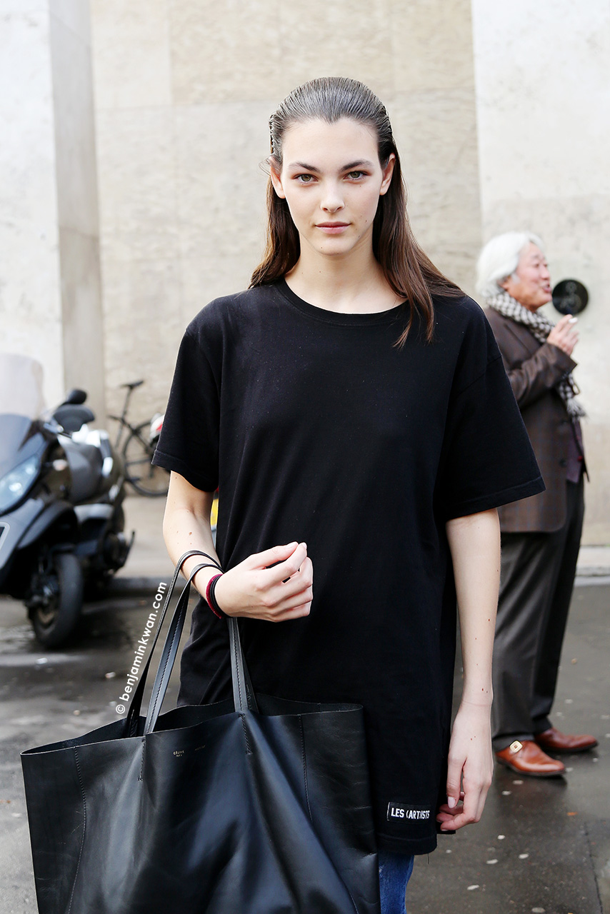 Vittoria Ceretti at Leonard SS 2015 Paris Snapped by Benjamin Kwan     Paris Fashion Week
