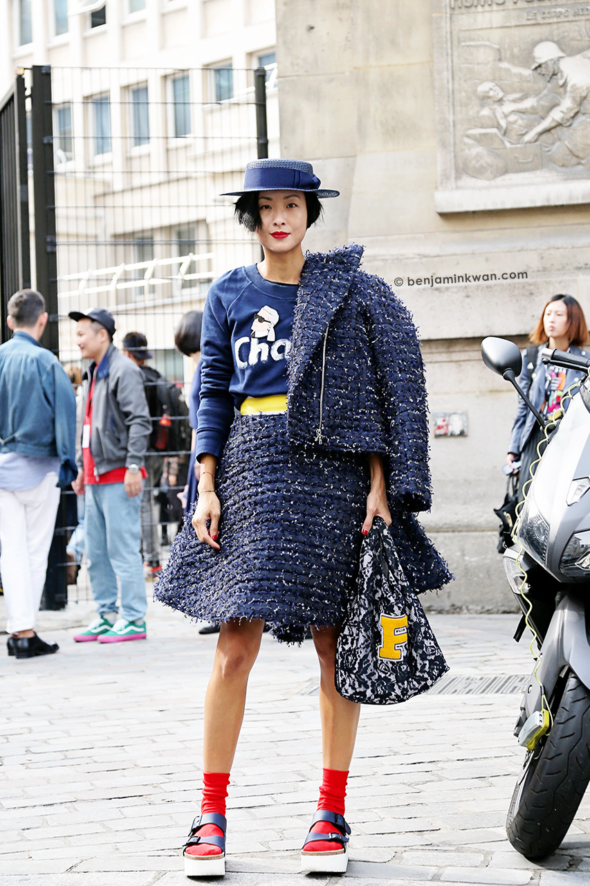 Hilary Tsui at Sacai SS 2015 Paris Snapped by Benjamin Kwan Paris Fashion Week
