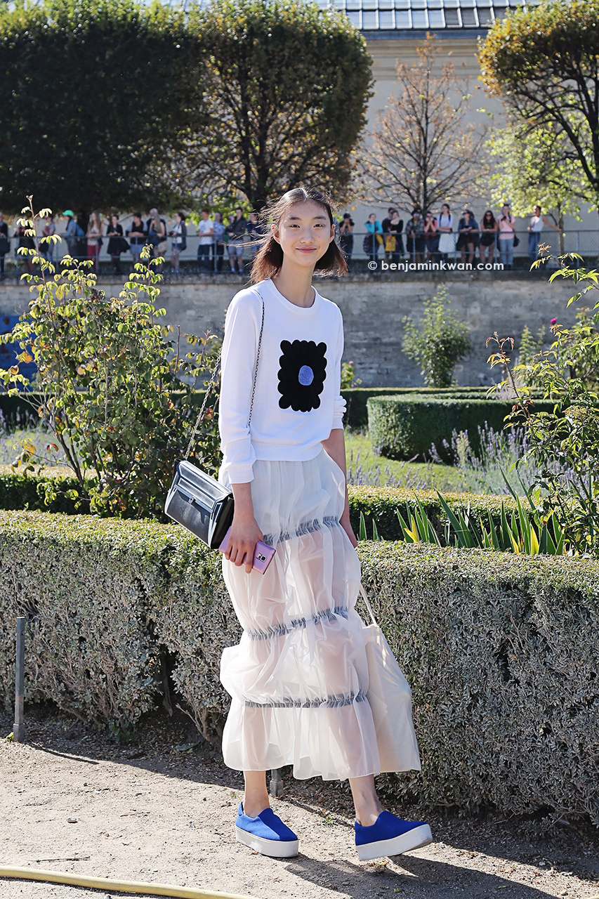 Yue Ning at Issey Miyake SS 2015 Paris Snapped by Benjamin Kwan     Paris Fashion Week