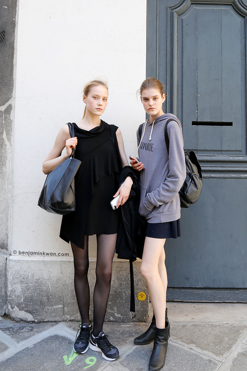 Margarita Pugovka and Kia Low at Viktor & Rolf SS 2015 Paris Snapped by Benjamin Kwan     Paris Fashion Week