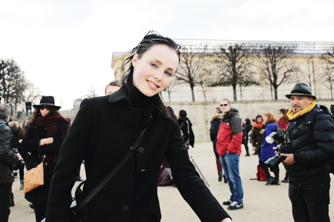 Edie Campbell at Valentino FW 2014 Paris Snapped by Benjamin Kwan Paris Fashion Week