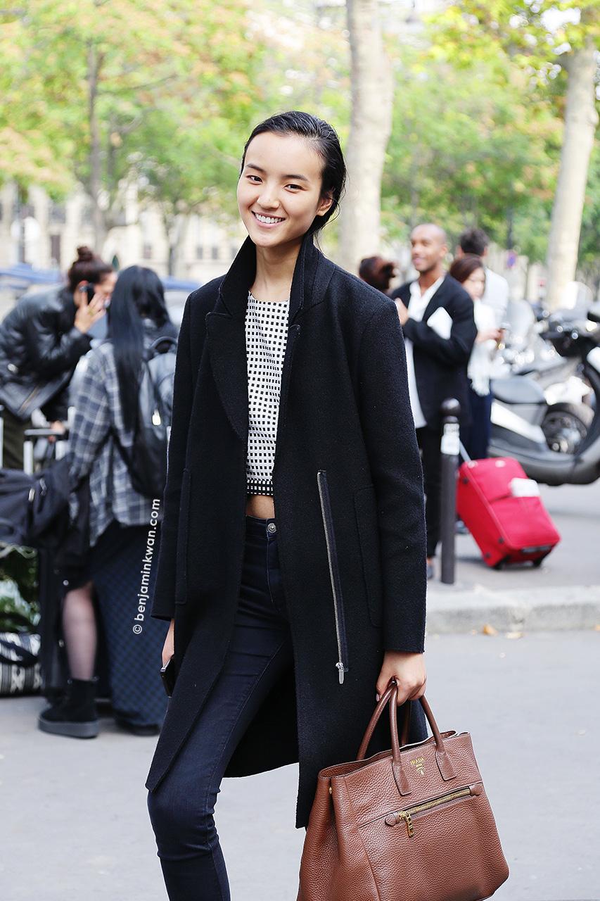 Luping Wang at Damir Doma SS 2015 Paris Snapped by Benjamin Kwan     Paris Fashion Week