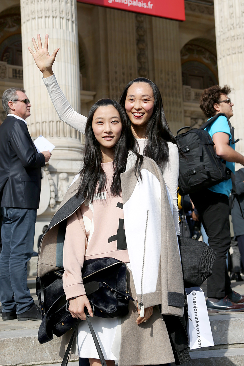 JiHye Park and Ji Young Kwak at Carven SS 2015 Paris Snapped by Benjamin Kwan Paris Fashion Week