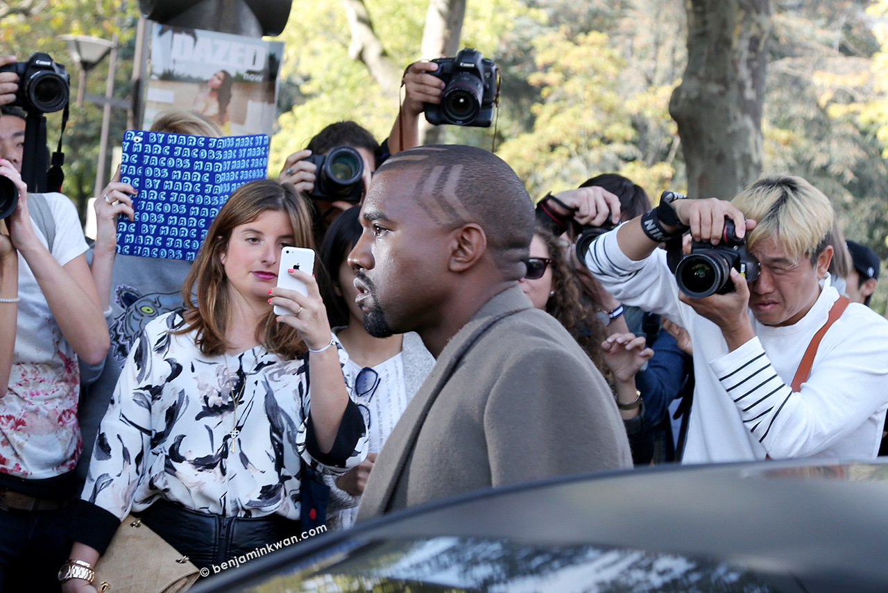 Kanye West at Celine SS 2015 Paris Snapped by Benjamin Kwan Paris Fashion Week