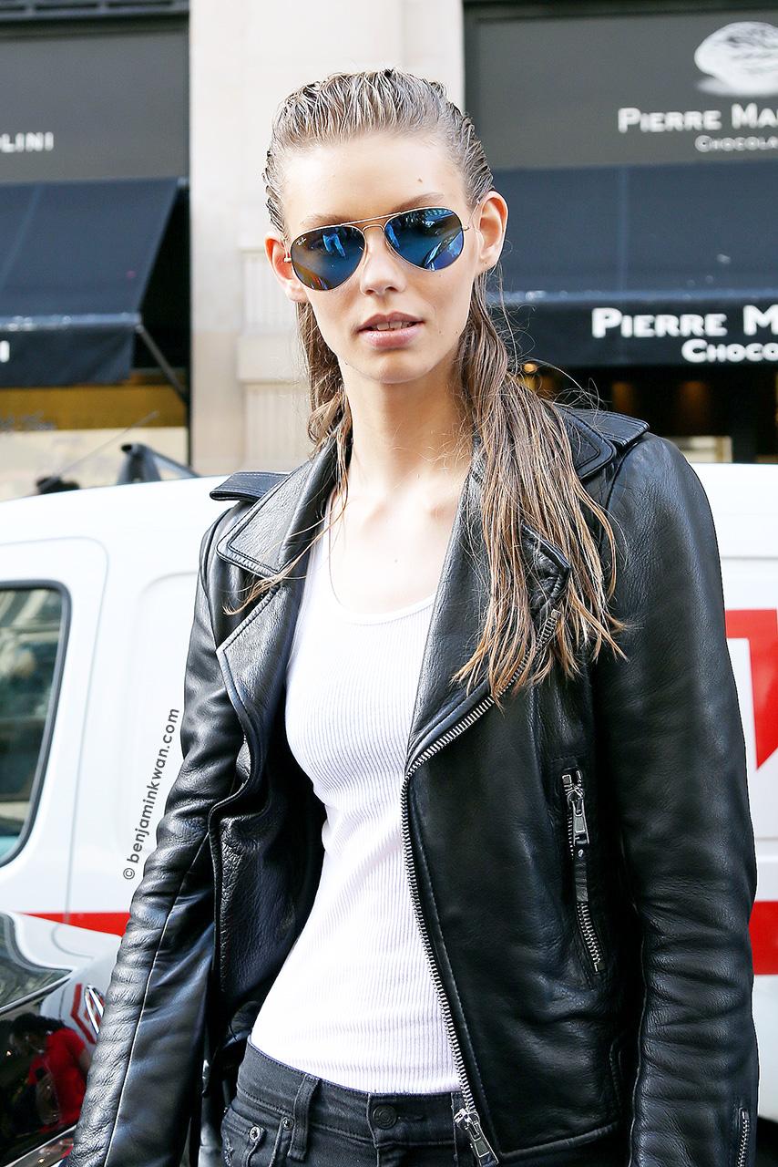 Ondria Hardin at Balmain SS 2015 Paris Snapped by Benjamin Kwan     Paris Fashion Week