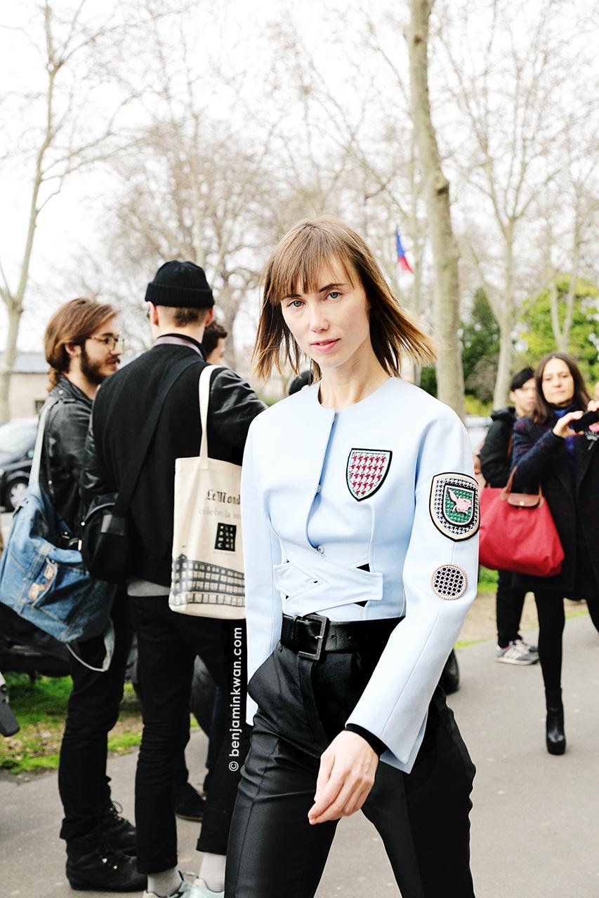 Anya Ziourova at Dior FW 2014 Paris Snapped by Benjamin Kwan Paris Fashion Week