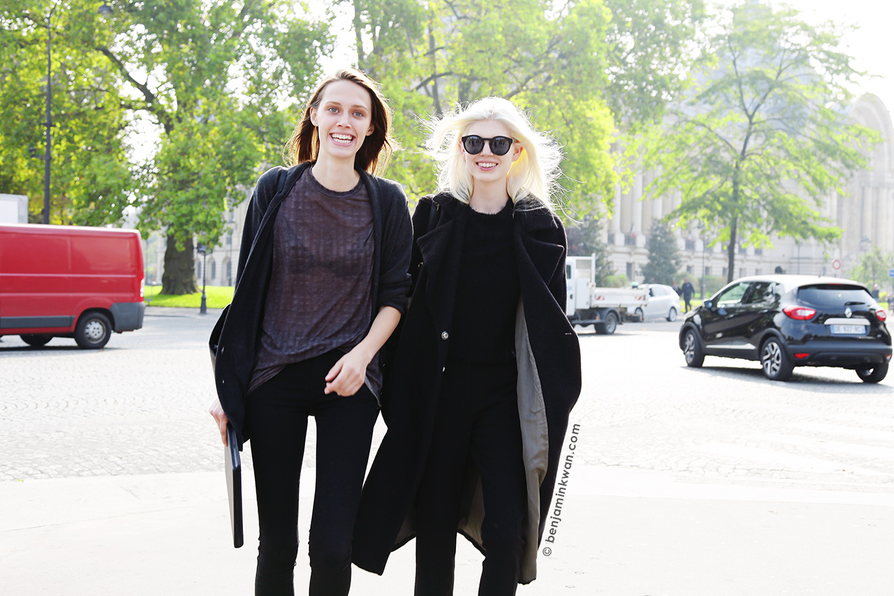 Georgia Hilmer and Ola Rudnicka at SS 2015 Paris Snapped by Benjamin Kwan     Paris Fashion Week