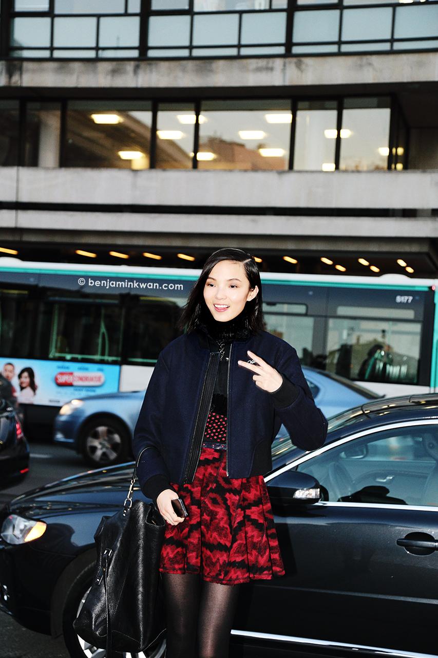 Xiao Wen Ju at Hermes FW 2014 Paris Snapped by Benjamin Kwan Paris Fashion Week