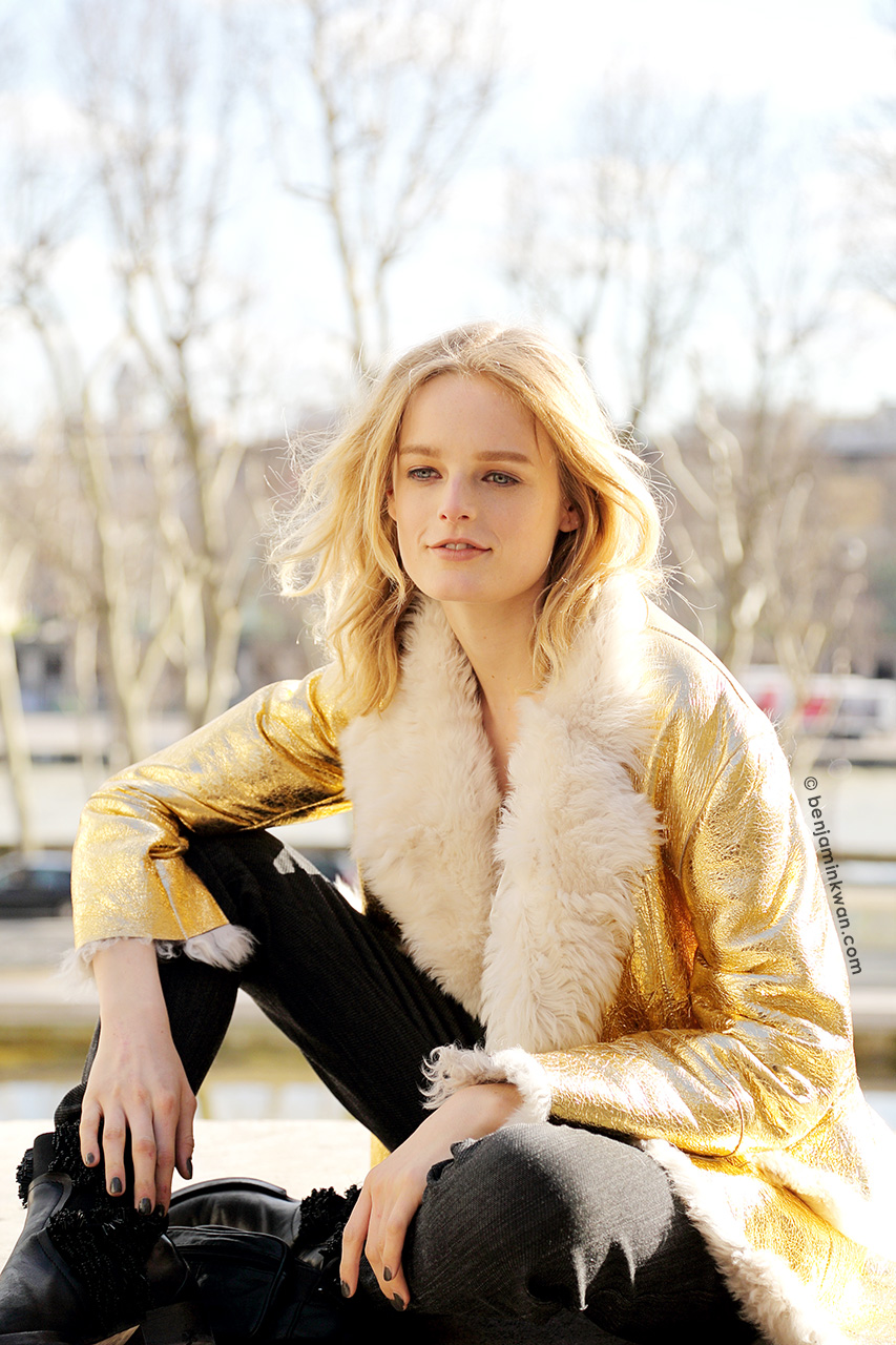 Hanne Gaby Odiele at Zadig & Voltaire FW 2014/2015 Snapped by Benjamin Kwan Paris Fashion Week