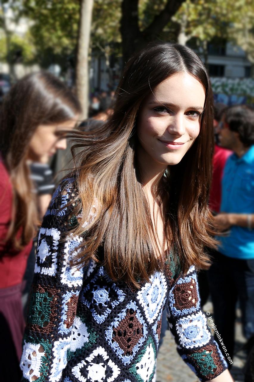 Stacy Martin at Miu Miu SS 2015 Paris Snapped by Benjamin Kwan     Paris Fashion Week