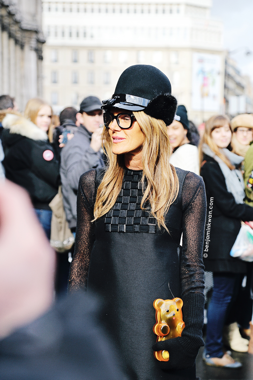 Anna Dello Russo at Balmain FW 2014 Paris Snapped by Benjamin Kwan Paris Fashion Week