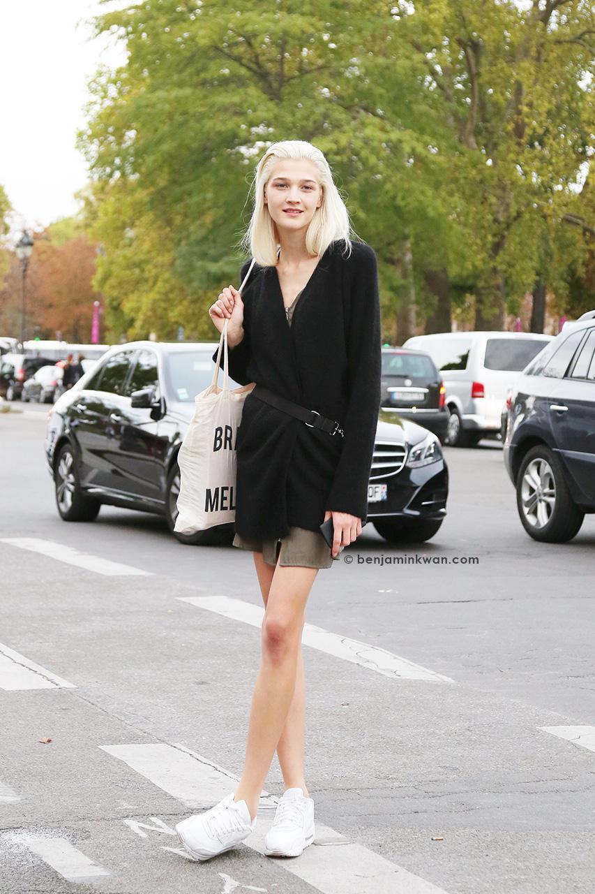 Lena Hamm at Akris SS 2015 Paris Snapped by Benjamin Kwan     Paris Fashion Week