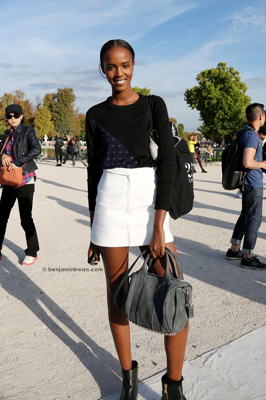 Leila Nda at Nina Ricci SS 2015 Paris Snapped by Benjamin Kwan     Paris Fashion Week