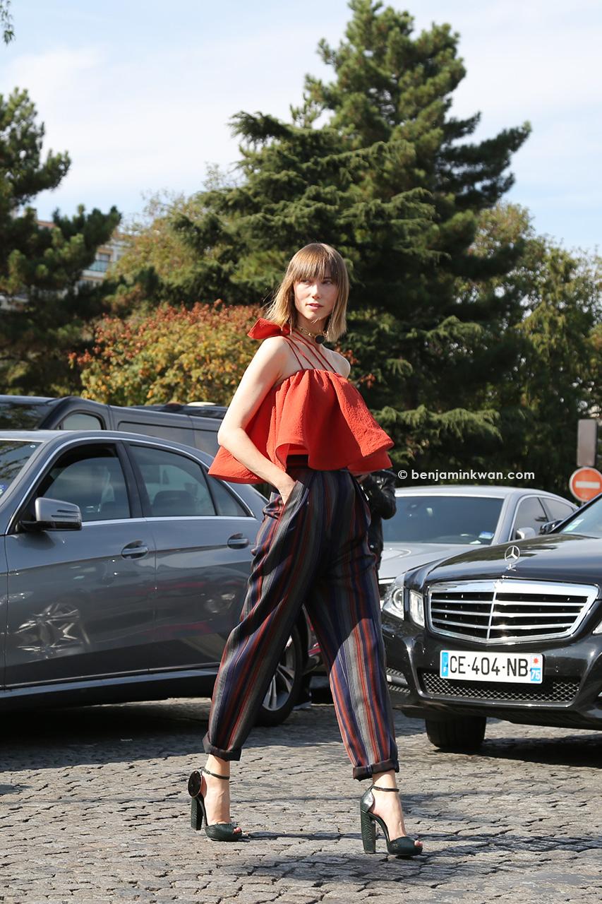 Anya Ziourova at Celine SS 2015 Paris Snapped by Benjamin Kwan     Paris Fashion Week