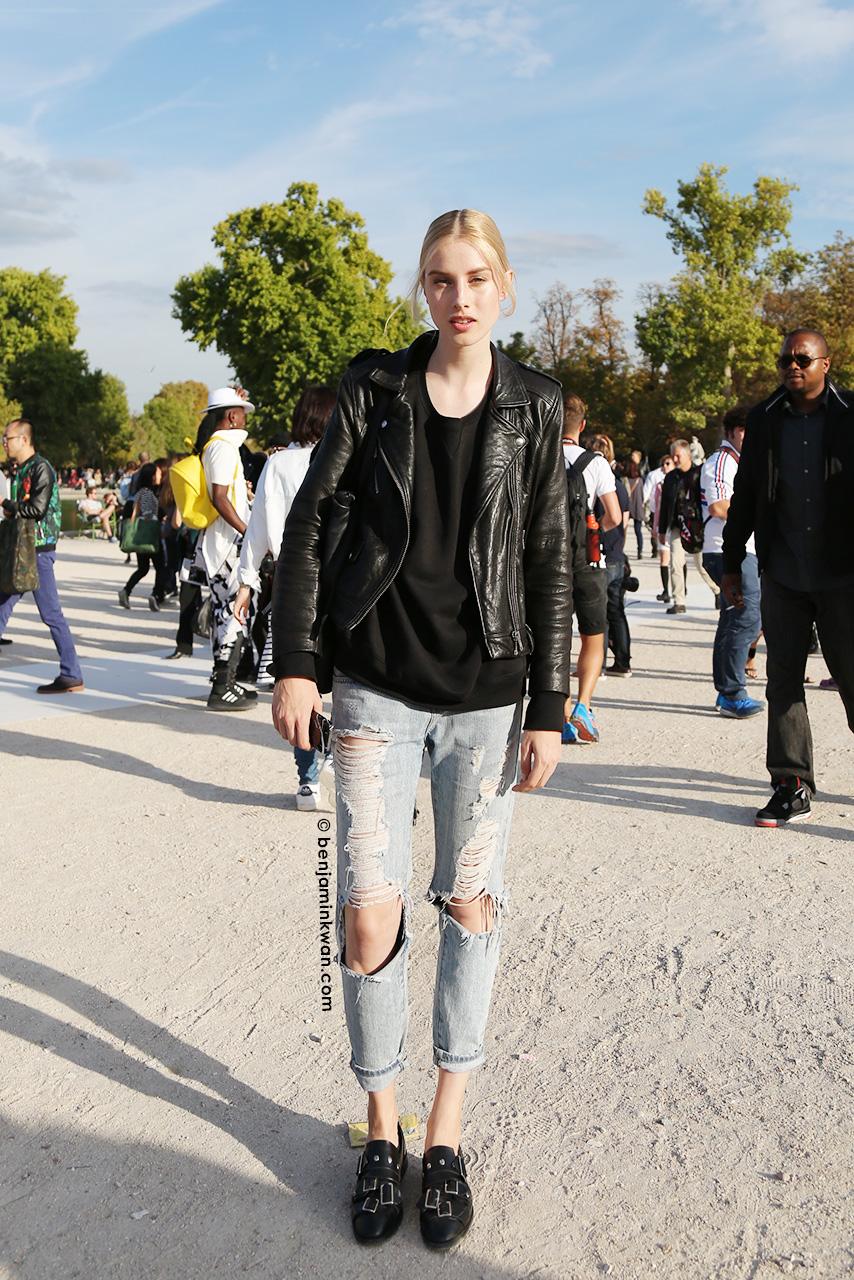 Jo Molenaar at Nina Ricci SS 2015 Paris Snapped by Benjamin Kwan     Paris Fashion Week
