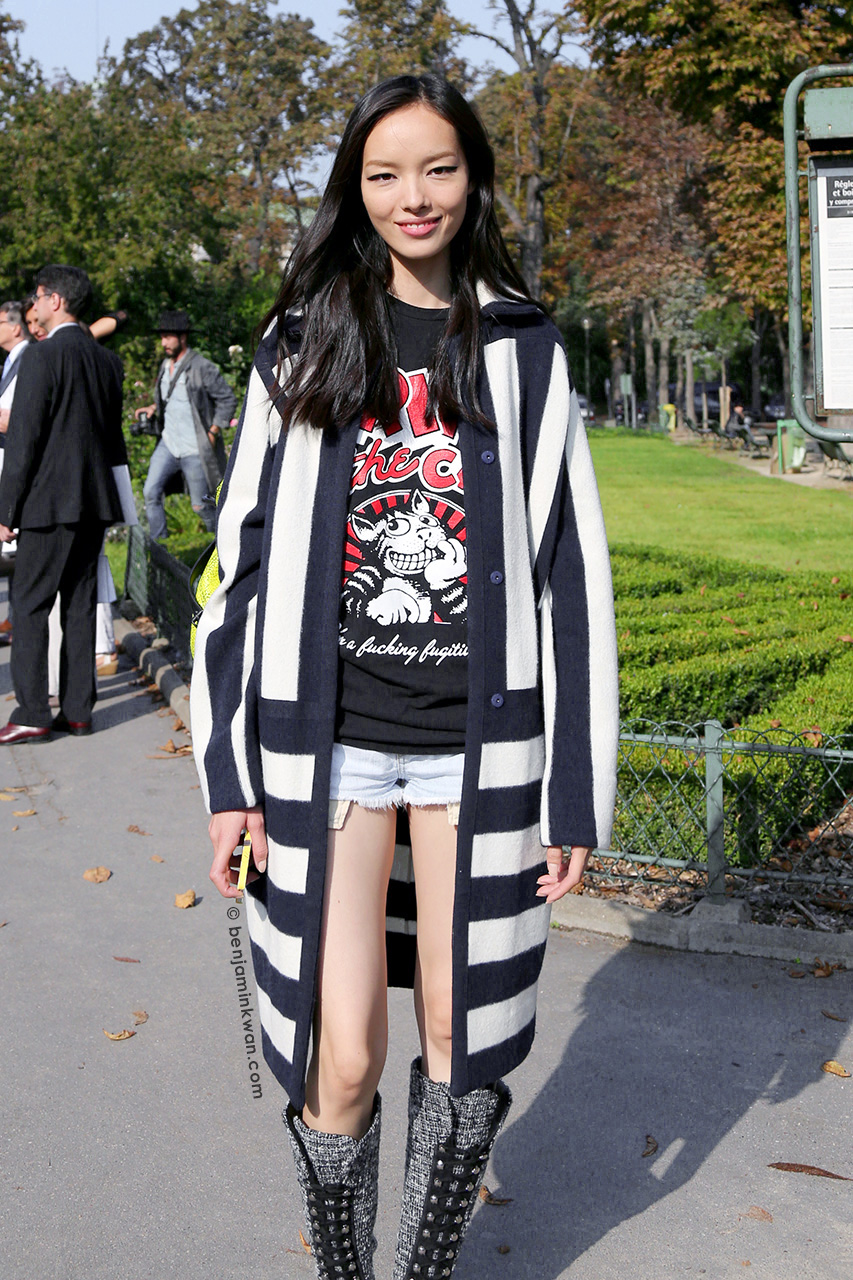 Fei Fei Sun at Chanel SS 2015 Paris Snapped by Benjamin Kwan Paris Fashion Week
