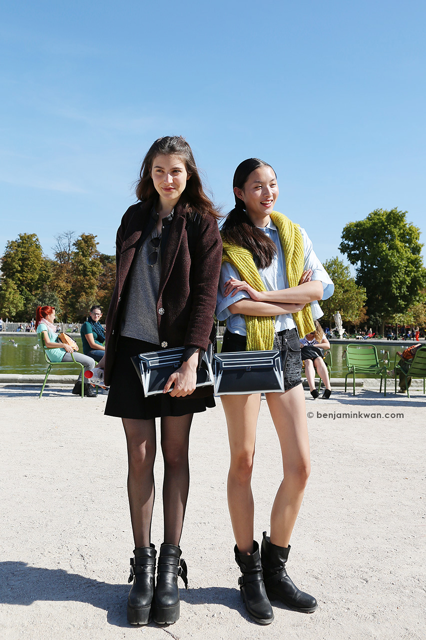 Guiliana Caramuto & Ling Yue at Issey Miyake SS 2015 Paris Snapped by Benjamin Kwan Paris Fashion Week