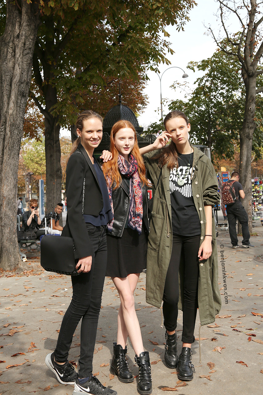 Adrienne Juliger, Madison Stubbington and Anna Grostina at Giambattista Valli SS 2015 Paris Snapped by Benjamin Kwan     Paris Fashion Week