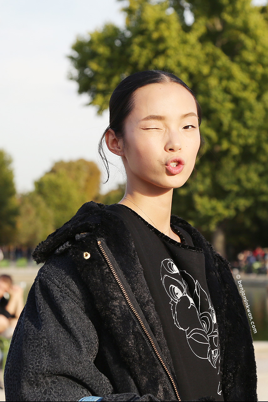 Xiao Wen Ju at Nina Ricci SS 2015 Paris Snapped by Benjamin Kwan Paris Fashion Week