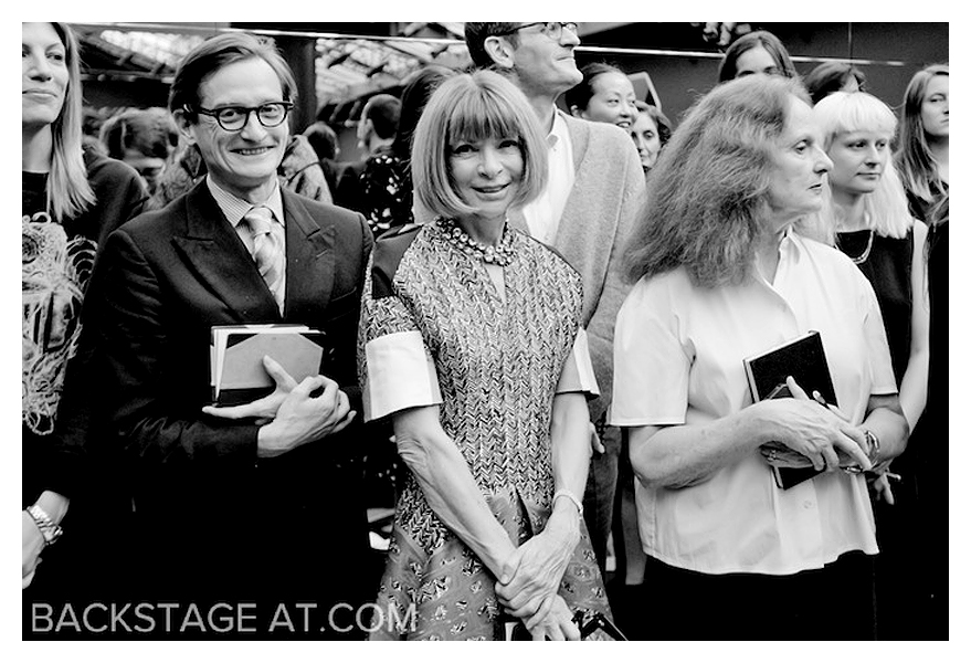 """Backstageat.com""  Hamish Bowles + Anna Wintour + Grace Coddington + Kevin Tachman"