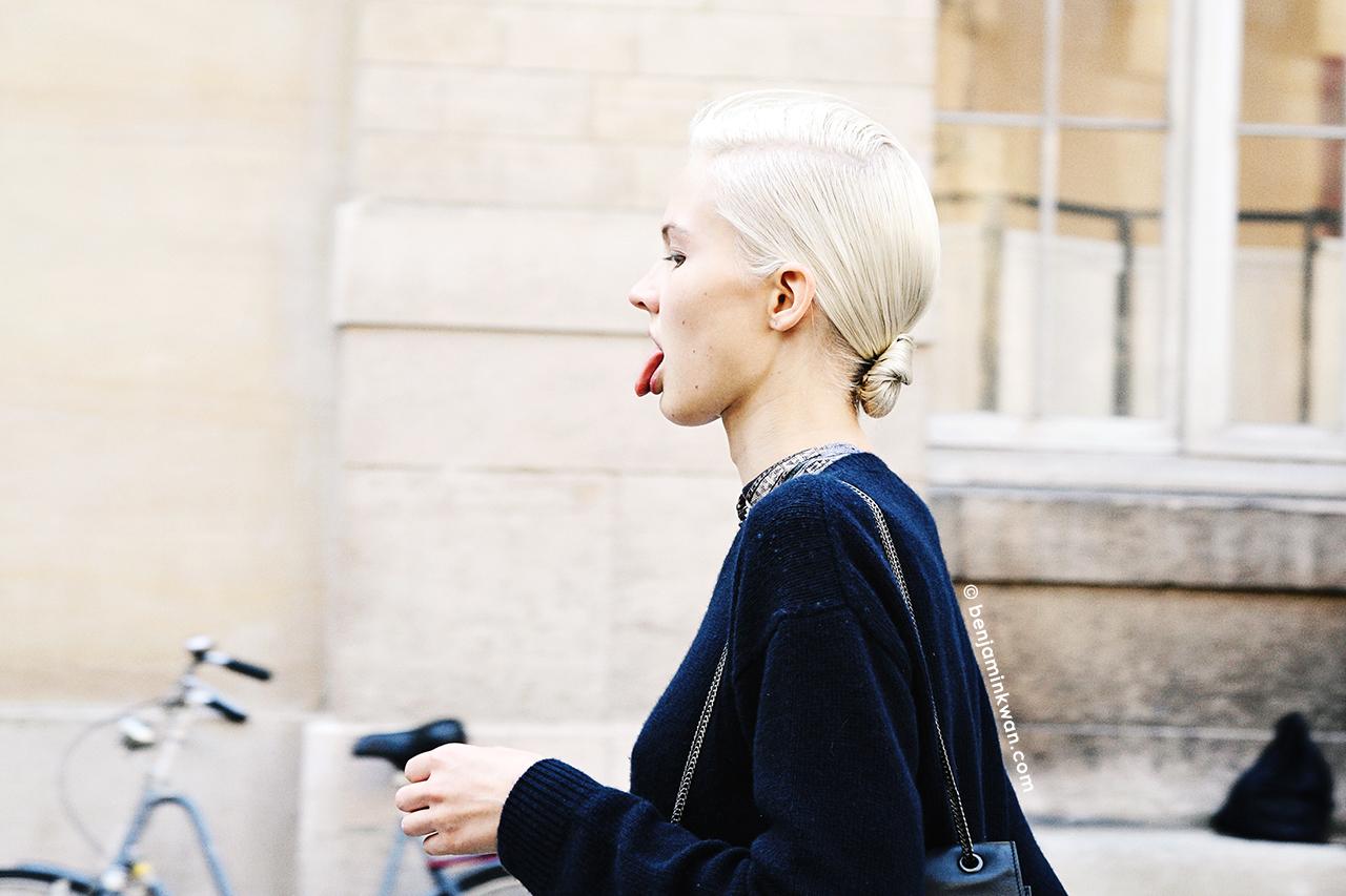 Sasha Luss at Isabel Marant SS 2014 Paris Snapped by Benjamin Kwan Paris Fashion Week