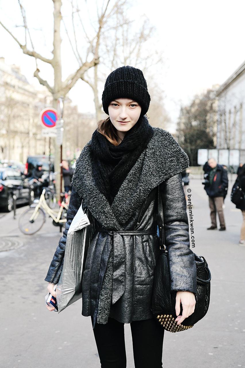 Kasia Jujeczka at Acne Studios    FW 2014 Paris Snapped by Benjamin Kwan     Paris Fashion Week