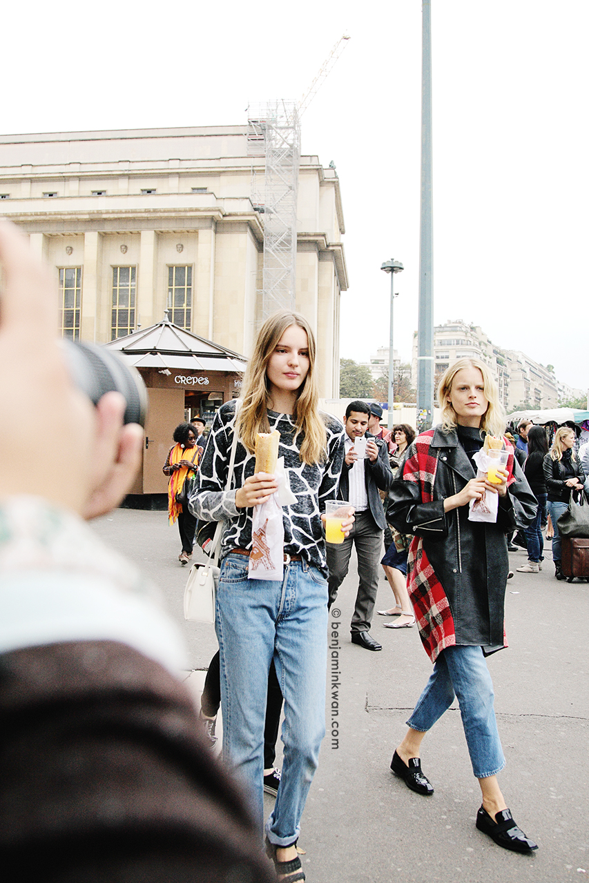 Tilda Lindstam and Hanne Gaby Odiele at Sacai SS 2014 Paris Snapped by Benjamin Kwan     Paris Fashion Week