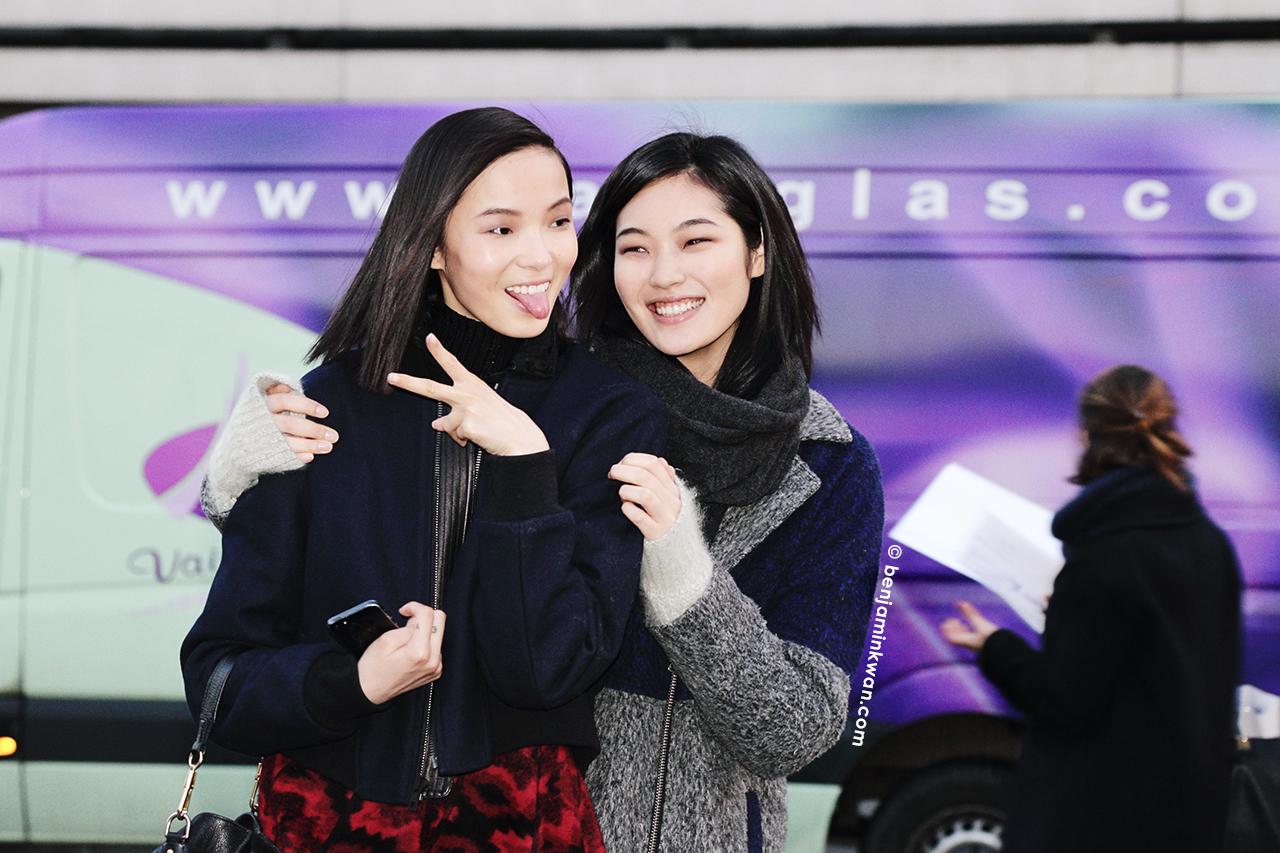 Xiao Wen Ju and Chiharu Okunugi at Hermes FW 2014 Paris Snapped by Benjamin Kwan Paris Fashion Week