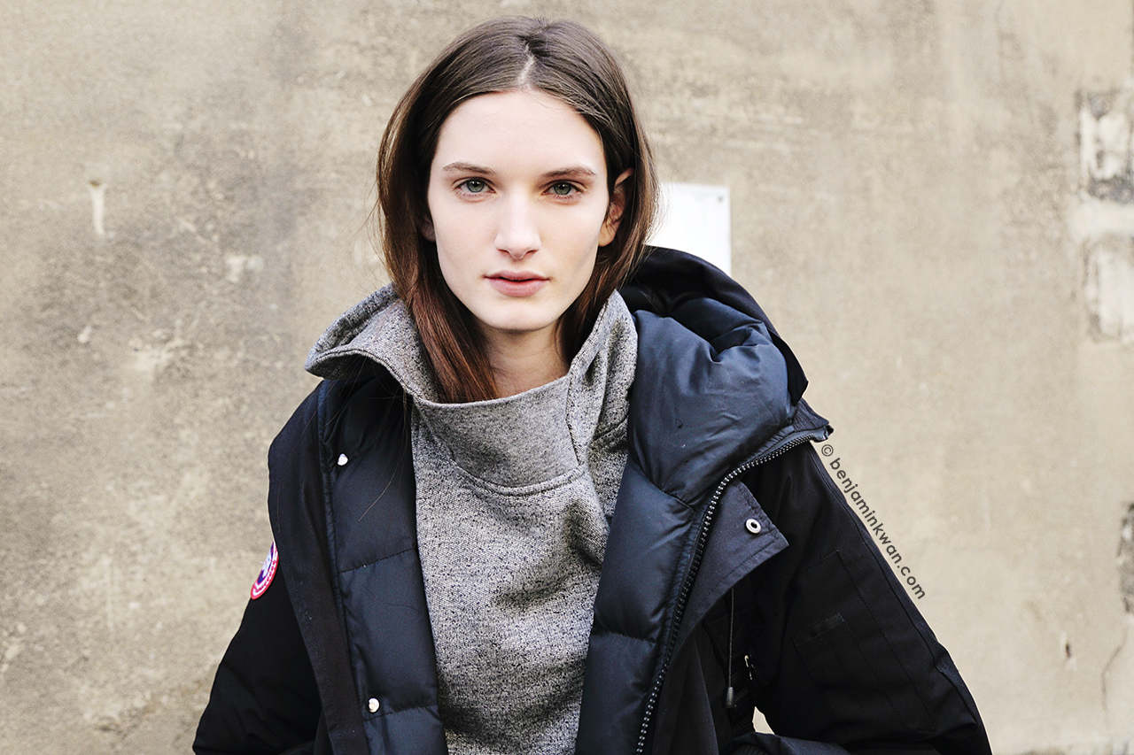 Carly Moore at Moncler Gamme Rouge FW 2014 Paris Snapped by Benjamin Kwan Paris Fashion Week