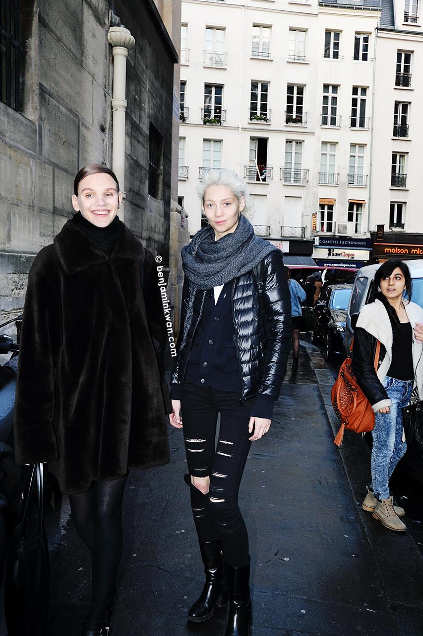Ona Marija and Lidia Judickaite at Vivienne Westwood FW 2014 Paris Snapped by Benjamin Kwan Paris Fashion Week