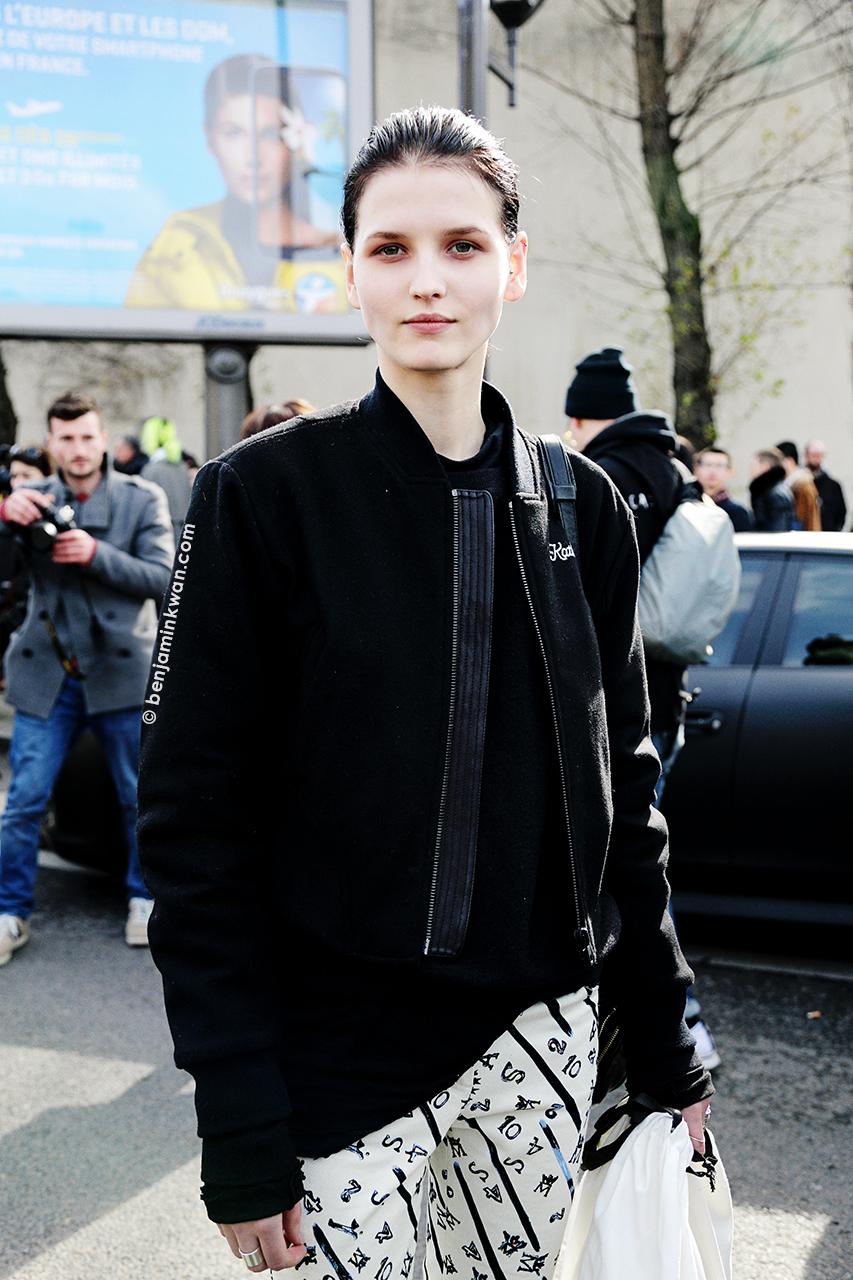 Katlin Aas at Celine FW 2014 Paris Snapped by Benjamin Kwan Paris Fashion Week