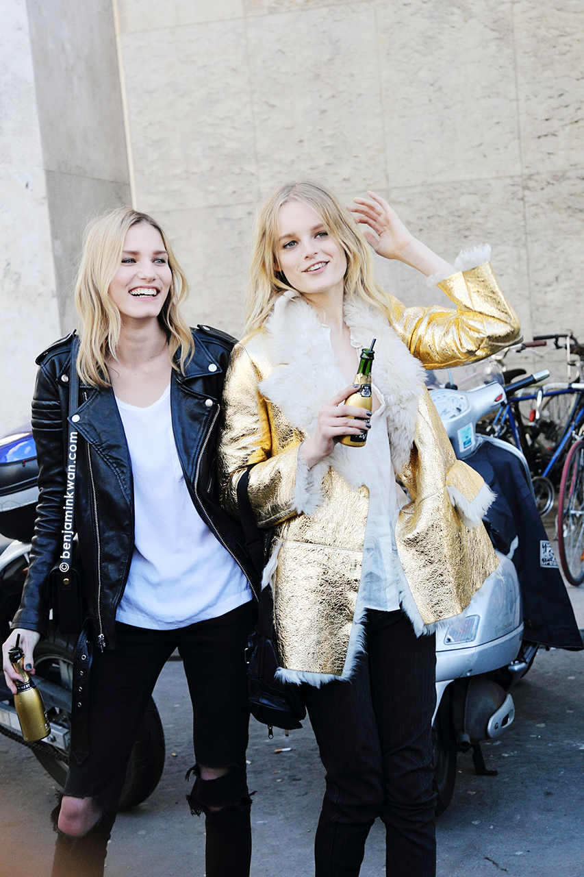 Marique Schimmel and Hanne Gaby Odiele at Zadig & Voltaire     FW 2014 Paris Snapped by Benjamin Kwan Paris Fashion Week
