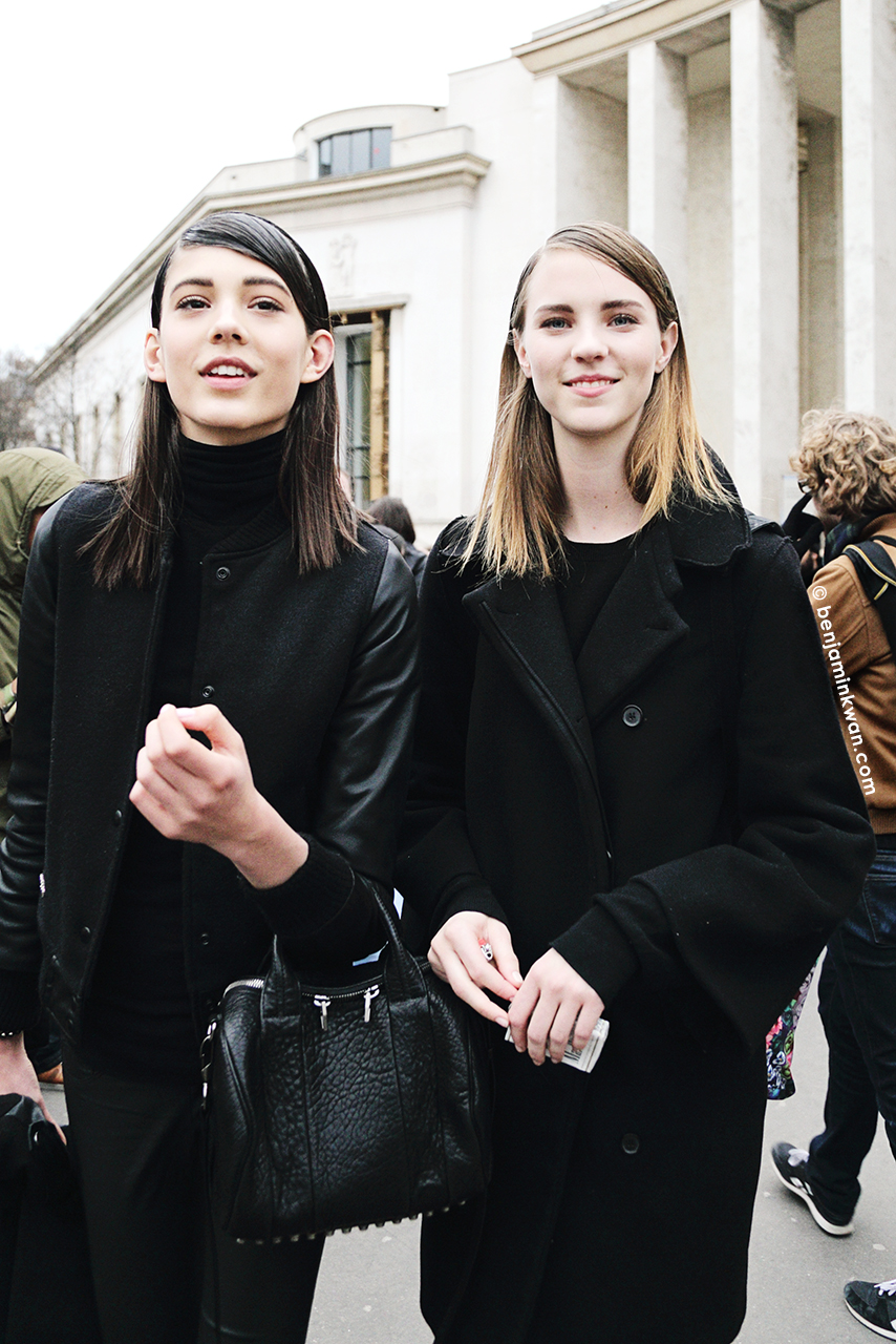 Ewa Wladymiruk and Nicole Pollard at John Galliano FW 2014 Paris Snapped by Benjamin Kwan Paris Fashion Week