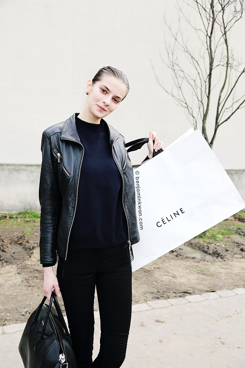 Dasha Denisenko at Celine FW 2014 Paris Snapped by Benjamin Kwan Paris Fashion Week